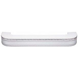 """Карниз потолочный пластиковый поворотный """"Гранд"""", 2 ряда, серебро"""