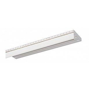 """Карниз потолочный пластиковый без поворота """"Греция"""", 3 ряда, белый хром, 300 см-A"""