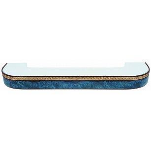 """Карниз потолочный пластиковый поворотный """"Греция"""", 3 ряда, синий"""