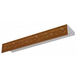 """Карниз потолочный пластиковый без поворота """"Овация 3D"""", 3 ряда, орех"""