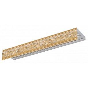"""Карниз потолочный пластиковый без поворота """"Овация 3D"""", 3 ряда, слоновая кость"""