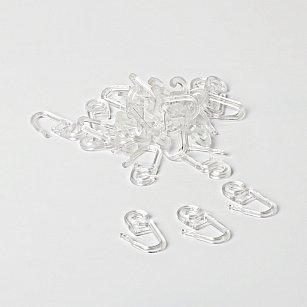 Комплект крючков для металлического карниза, прозрачный, диаметр 28 мм