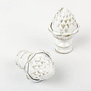 """Комплект наконечников для карниза """"Агра"""", белое золото, ø19 мм"""