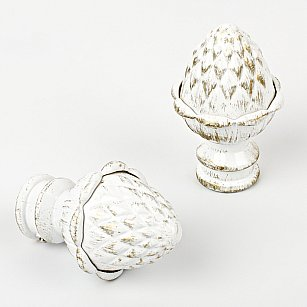 """Наконечник для карниза """"Агра"""", белое золото, ø25 мм"""
