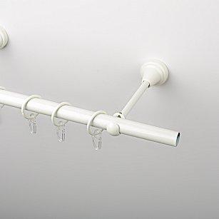 Карниз металлический стыкованный, 1-рядный, белый пиано, гладкая труба, ø 19 мм