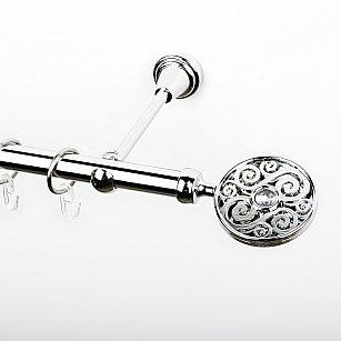 """Карниз металлический стыкованный, 1-рядный """"Вега"""", хром, гладкая труба, ø 19 мм"""