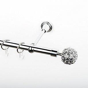 """Карниз металлический стыкованный, 1-рядный """"Тэтис"""", хром, гладкая труба, ø 19 мм"""