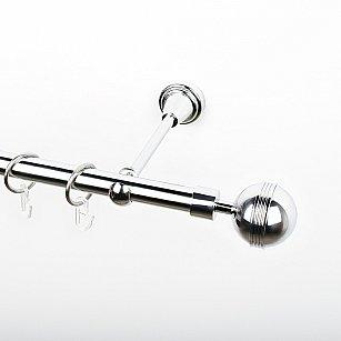 """Карниз металлический стыкованный, 1-рядный """"Орд"""", хром, гладкая труба, ø 19 мм"""