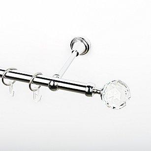 """Карниз металлический стыкованный, 1-рядный """"Леда"""", хром, гладкая труба, ø 19 мм"""