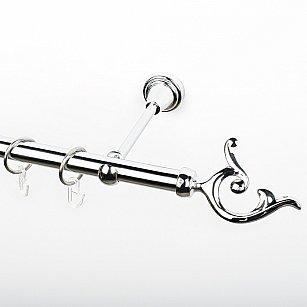 """Карниз металлический стыкованный, 1-рядный """"Ноя"""", хром, гладкая труба, ø 19 мм"""