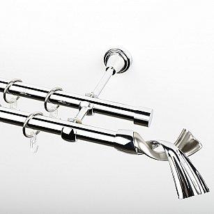 """Карниз металлический стыкованный, 2-рядный """"Дива"""", хром, гладкая труба, ø 19 мм"""