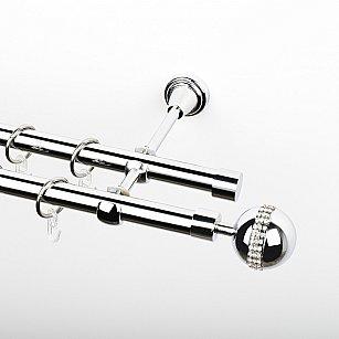 """Карниз металлический стыкованный, 2-рядный """"Милано"""", хром, гладкая труба, ø 19 мм"""