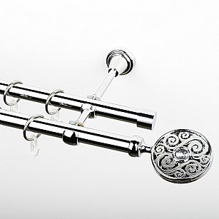 """Карниз металлический стыкованный, 2-рядный """"Вега"""", хром, гладкая труба, ø 19 мм"""