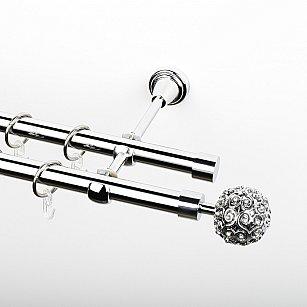 """Карниз металлический стыкованный, 2-рядный """"Тэтис"""", хром, гладкая труба, ø 19 мм"""