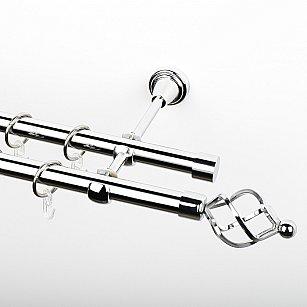 """Карниз металлический стыкованный, 2-рядный """"Авея"""", хром, гладкая труба, ø 19 мм"""