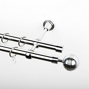 """Карниз металлический стыкованный, 2-рядный """"Орд"""", хром, гладкая труба, ø 19 мм"""
