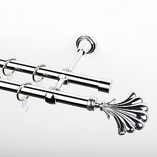 """Карниз металлический стыкованный, 2-рядный """"Морена"""", хром, гладкая труба, ø 19 мм"""