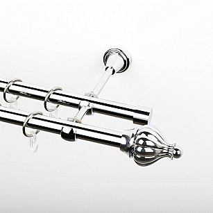 """Карниз металлический стыкованный, 2-рядный """"Тай"""", хром, гладкая труба, ø 19 мм"""