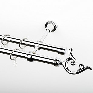 """Карниз металлический стыкованный, 2-рядный """"Ноя"""", хром, гладкая труба, ø 19 мм"""