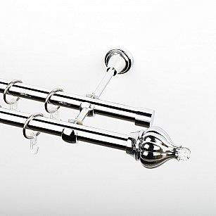 """Карниз металлический стыкованный, 2-рядный """"Тайбэй"""", хром, гладкая труба, ø 19 мм"""