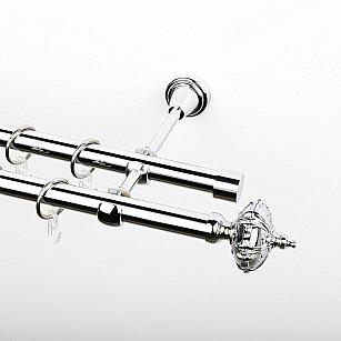 """Карниз металлический стыкованный, 2-рядный """"Бирма"""", хром, гладкая труба, ø 19 мм"""