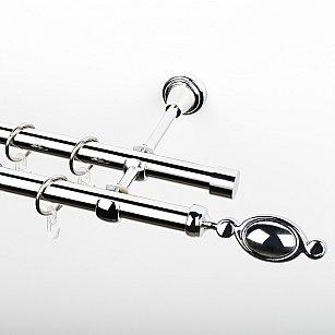 """Карниз металлический стыкованный, 2-рядный """"Дуо"""", хром, гладкая труба, ø 19 мм"""