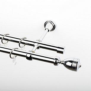"""Карниз металлический стыкованный, 2-рядный """"Ремус"""", хром, гладкая труба, ø 19 мм"""