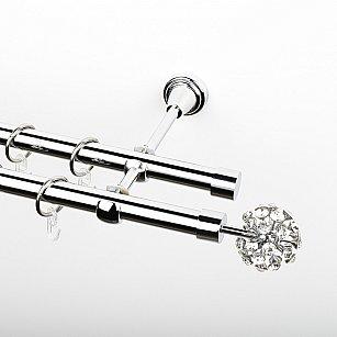 """Карниз металлический стыкованный, 2-рядный """"Лео"""", хром, гладкая труба, ø 19 мм"""