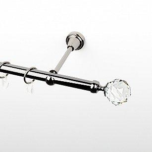 """Карниз металлический стыкованный, 1-рядный """"Леда"""", черный никель, гладкая труба, ø 19 мм"""