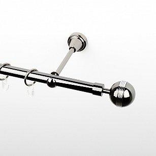 """Карниз металлический стыкованный, 1-рядный """"Орд"""", черный никель, гладкая труба, ø 19 мм"""