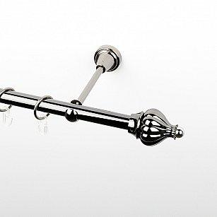 """Карниз металлический стыкованный, 1-рядный """"Тай"""", черный никель, гладкая труба, ø 19 мм"""