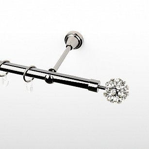 """Карниз металлический стыкованный, 1-рядный """"Лео"""", черный никель, гладкая труба, ø 19 мм"""
