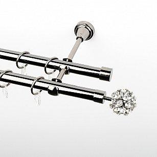 """Карниз металлический стыкованный, 2-рядный """"Лео"""", черный никель, гладкая труба, ø 19 мм"""