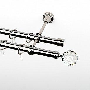 """Карниз металлический стыкованный, 2-рядный """"Леда"""", черный никель, гладкая труба, ø 19 мм"""