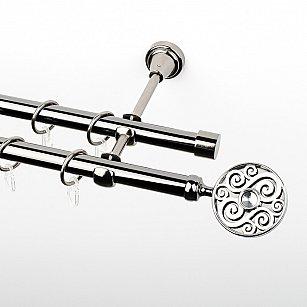 """Карниз металлический стыкованный, 2-рядный """"Вега"""", черный никель, гладкая труба, ø 19 мм"""