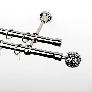 """Карниз металлический стыкованный, 2-рядный """"Тэтис"""", черный никель, гладкая труба, ø 19 мм"""