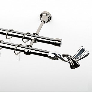 """Карниз металлический стыкованный, 2-рядный """"Дива"""", черный никель, гладкая труба, ø 19 мм"""