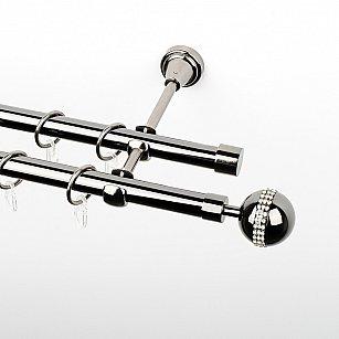 """Карниз металлический стыкованный, 2-рядный """"Милано"""", черный никель, гладкая труба, ø 19 мм"""