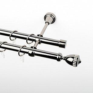 """Карниз металлический стыкованный, 2-рядный """"Верона"""", черный никель, гладкая труба, ø 19 мм"""