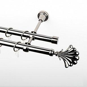 """Карниз металлический стыкованный, 2-рядный """"Морена"""", черный никель, гладкая труба, ø 19 мм"""