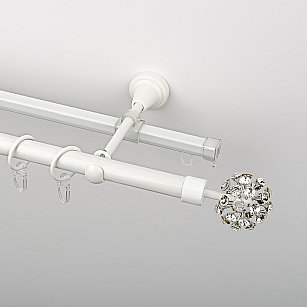 """Карниз металлический стыкованный c наконечниками """"Лео"""", 2-рядный, белый пиано, гладкая труба, ø 19 мм"""