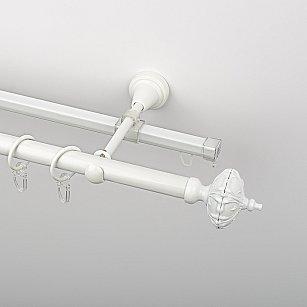 """Карниз металлический стыкованный c наконечниками """"Бирма"""", 2-рядный, белый пиано, гладкая труба, ø 19 мм"""