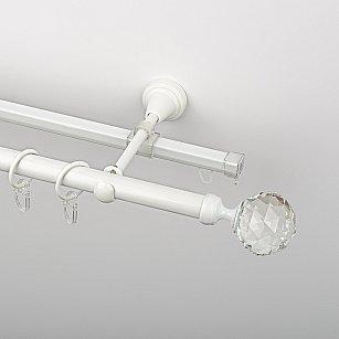"""Карниз металлический стыкованный c наконечниками """"Леда"""", 2-рядный, белый пиано, гладкая труба, ø 19 мм"""