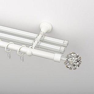 """Карниз металлический стыкованный с U-шинами и наконечниками """"Лео"""", 3-рядный, белый пиано, гладкая труба, ø 19 мм"""
