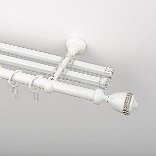 """Карниз металлический стыкованный с U-шинами и наконечниками """"Верона"""", 3-рядный, белый пиано, гладкая труба, ø 19 мм"""