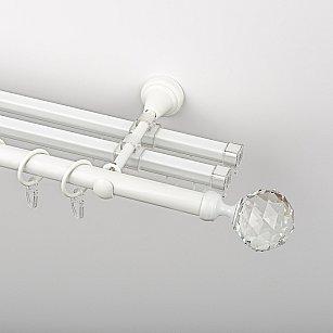 """Карниз металлический стыкованный с U-шинами и наконечниками """"Леда"""", 3-рядный, белый пиано, гладкая труба, ø 19 мм"""