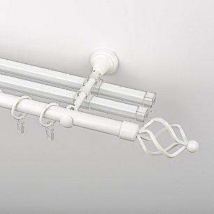 """Карниз металлический стыкованный с U-шинами и наконечниками """"Авея"""", 3-рядный, белый пиано, гладкая труба, ø 19 мм"""