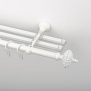 """Карниз металлический стыкованный с U-шинами и наконечниками """"Бирма"""", 3-рядный, белый пиано, гладкая труба, ø 19 мм"""