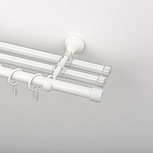 """Карниз металлический стыкованный с U-шинами и заглушками """"Кап"""", 3-рядный, белый пиано, гладкая труба, ø 19 мм"""