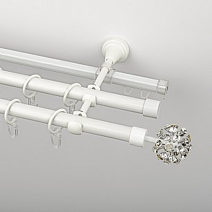 """Карниз металлический стыкованный c наконечниками """"Лео"""", 3-рядный, белый пиано, гладкая труба, ø 19 мм"""